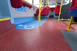 Altro Transflor Chroma floor and inlay installed on Abelio Bus