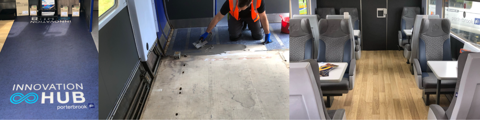 Porterbrook innovation hub in train carriage- before and after pictures of floor and wall surfaces in 30 year old rail carriage